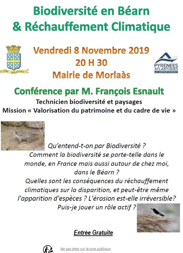 conférence: » La biodiversité en Béarn et le  réchauffement climatique »