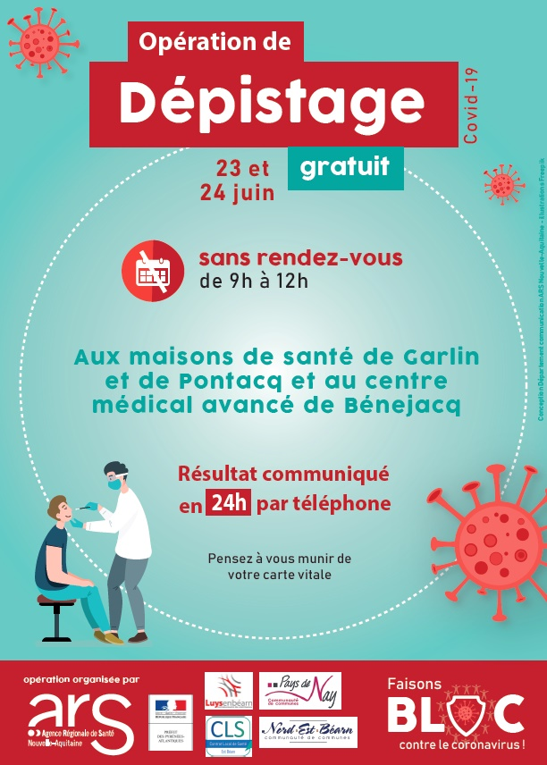 Opération de dépistage : 23 et 24 juin 2020.